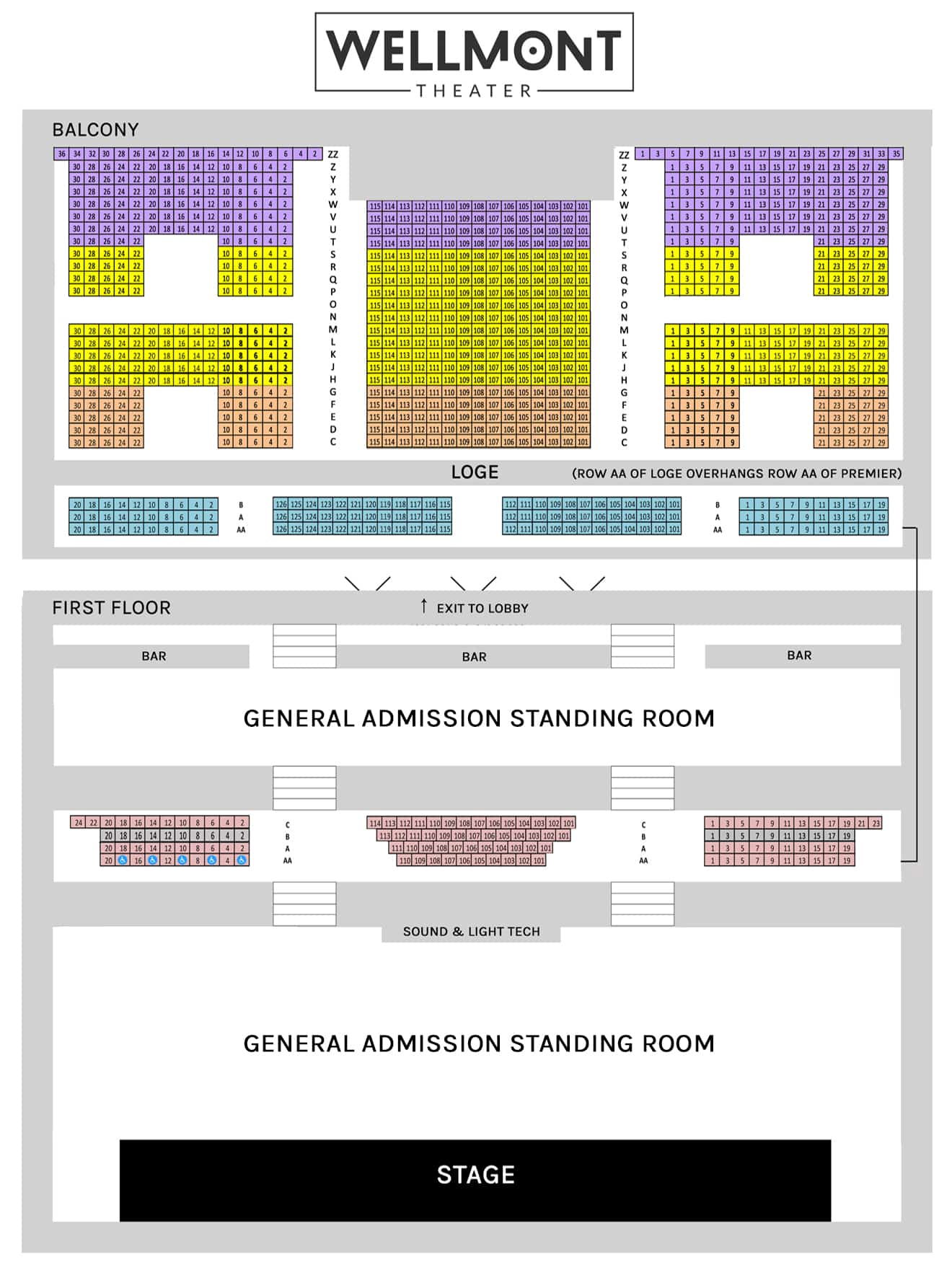 Wellmont General Admission Seating Chart